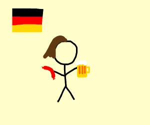 German lady with beer and weiner