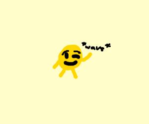 the winking emoji is waving
