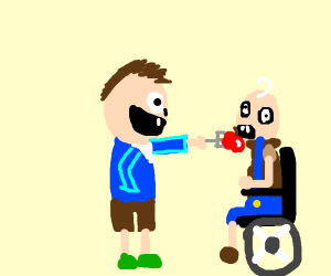 man feeds apple with a fork to a man wheelcha