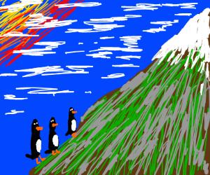 penguins climbing a mountain