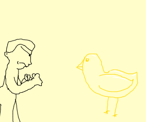 Angry man challenges golden bird to fight.