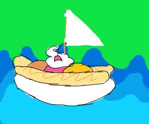 Banana split boat sailing accross the sea