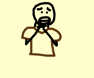 scared guy dressing brown