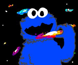 Cookie Monster ate galaxy, looked like cookie