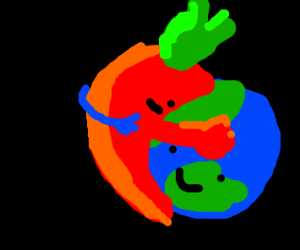 Red hot chili pepper hugging the earth