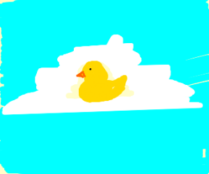 a bright duck sitting on cloud