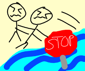 Taking a stop sign out of the river