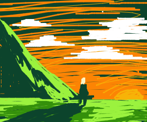 Man in Distant looks at a Sunset
