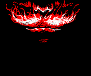 white and red fire mustache man