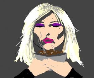 Blondie eating beans