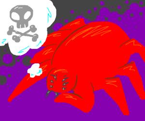 Giant scarlet spider beast plotting