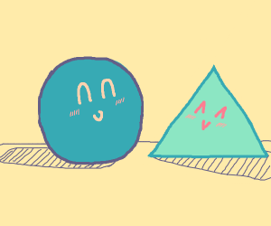 Ball and triangle are happy