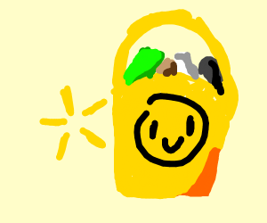 A yellow shopping bag