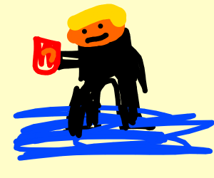 trump holding cheetos standing on water