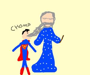 superman eating merlin/dumbledore's beard