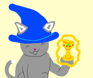 Cat Sorcerer holds an artifact