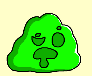 Green blob creature is confused