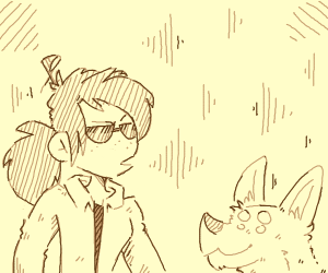 a girl with a four eyed dog