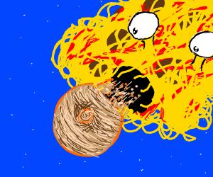 spaghetti flying monster devours jupiter