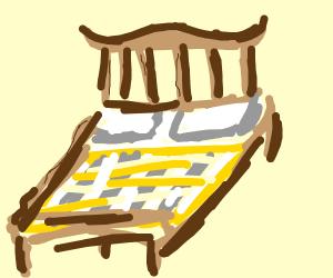wood-framed bed on 4 legs