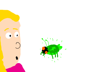 girl is surprised at radioactive lightningbug