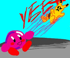 Kirby yeets pikachu in smash