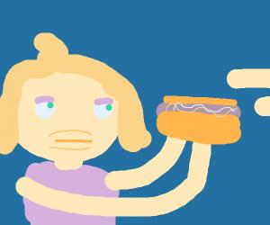 annoyed brat getting a hotdog