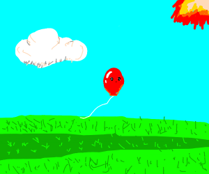A Balloon jumping over a Lawn