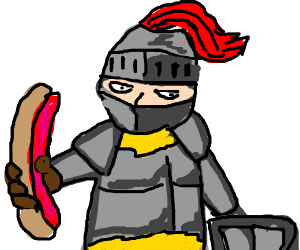 A sword made out of hotdogs