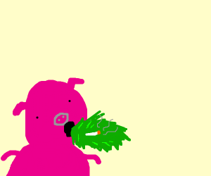 porky pig throwing up a cigarette