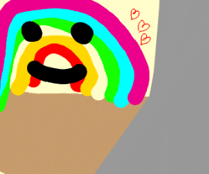 rainbow head is attracted to grey nothing