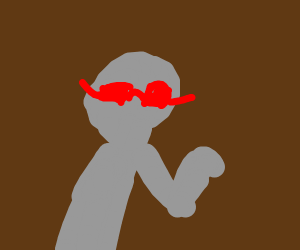 A grey person with red glasses and one arm.
