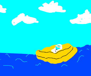 happy baby in a life raft