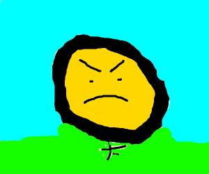 angry darwin looking thing its yellow