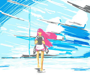 Pink haired woman on I pad in blizzard