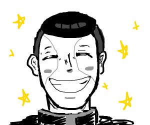 Okuyasu grinning