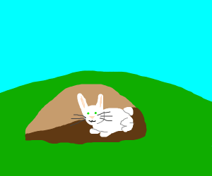 Cute bunny in a rabbit hole