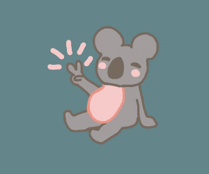 Chill koala flashes a peace sign