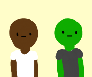 black guy and green guy