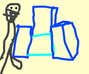knight with a blue chair