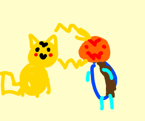 Pikachu fights Halloween Squirtle