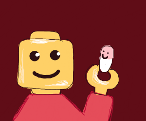 lego man takes a happy pill