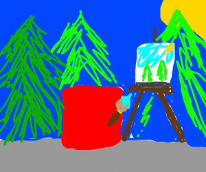 red block painting landscape