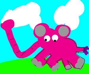 Weird pink elephant with long trunk