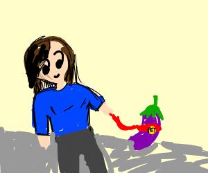 Girl walking her pet eggplant