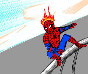 Spiderman hair/hood on fire