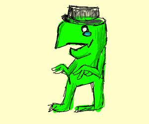 sad fedora wearing dinosaur