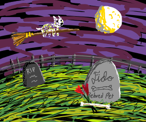 Ghost Dog On a Broom Over a Graveyard