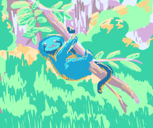 a blue sloth hanging from a tree