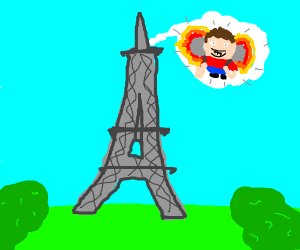 person blasting off from Eiffel tower